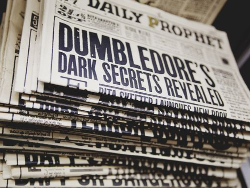 harry potter, dumbledore, and newspaper image