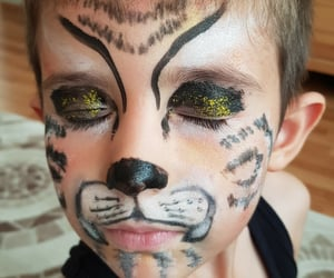 child, lion, and makeup image