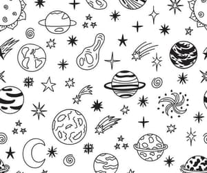 b&w, patterns, and planet image