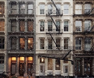 buildings, city, and snowing image