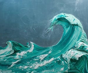 aesthetic, painting, and wave image