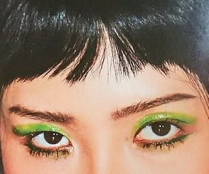 eyeshadow, bangs, and glossy makeup image