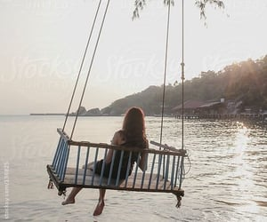 beach, relax, and swing image