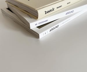 book, beige, and magazine image