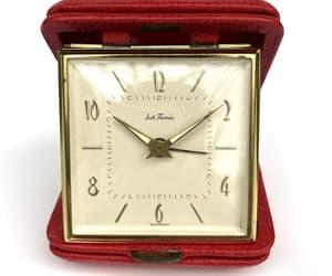 Vintage Alarm Clock Travel Red Snake Skin Seth Thomas TRIPMATE image 0