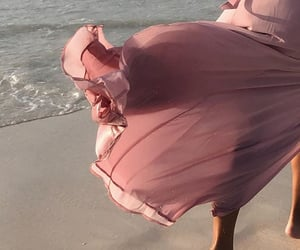 beach, dress, and pink image