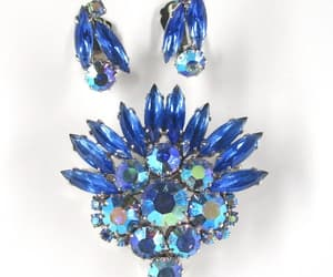 Blue Brooch Set Earrings Clip on Slender Navettes image 0