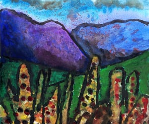 abstract art, mountain, and painting image