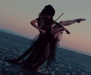 art, dress, and violin image