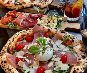 food, parmesan, and pizza image