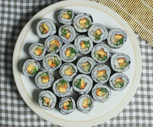 food, kimbap, and korean food image
