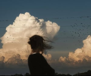 aesthetic, clouds, and girl image