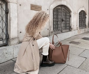 bag, boots, and trench coat image