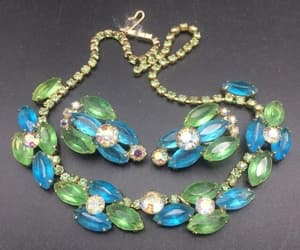 Juliana aqua green and Aurora Borealis rhinestone necklace image 0