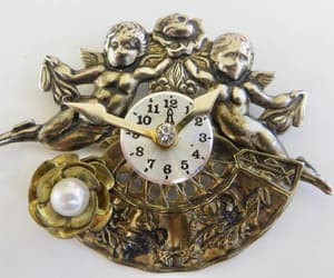 Cherub Brooch Pair of Cherubs Clock Center Pearl Flower image 0