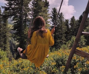 alone, dress, and forest image