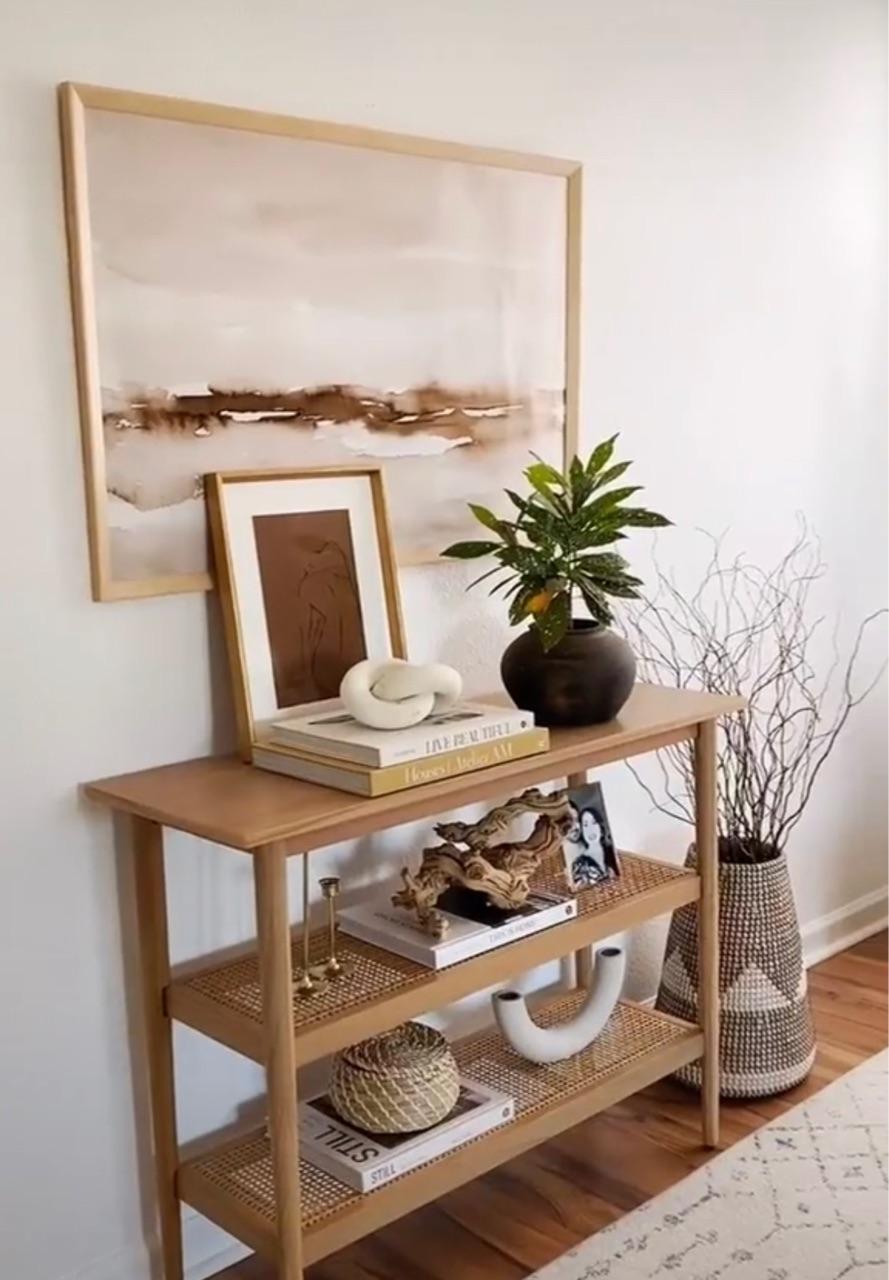 bamboo, beige, and bookshelf image