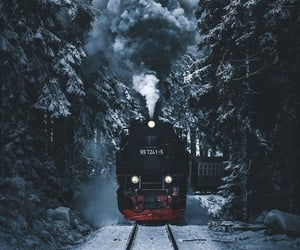 train, forest, and christmas image