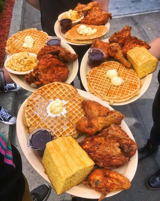 food, waffles, and Chicken image