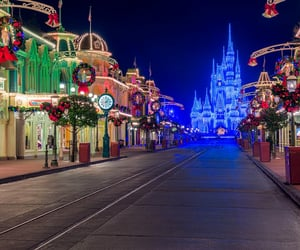 disney, lights, and mickey mouse image
