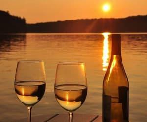 beach, sunset, and wine image