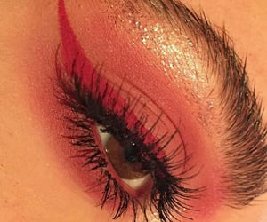 beauty, red eyeliner, and eyeliner image