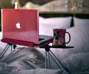 bed, mac, and apple image