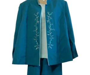 Women's 3 Piece Set Pants Jacket and Blouse Teal and Mint image 0