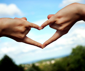 hands, sky, and heart image