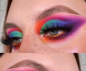 colorful eyes, makeup artist, and rainbow eyeshadow image