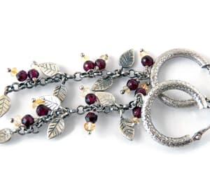 Citrine Garnet Hoop Earrings Sterling Silver Long Chain image 0