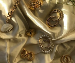 earrings, necklace, and gold image
