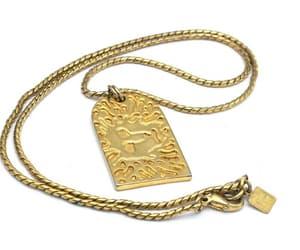 Anne Klein lion tag pendant necklace gold  chain image 0