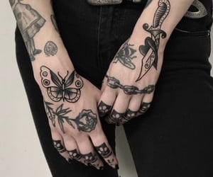 hand tattoos, black ink, and ink image