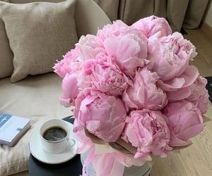 flowers, peonies, and coffee image