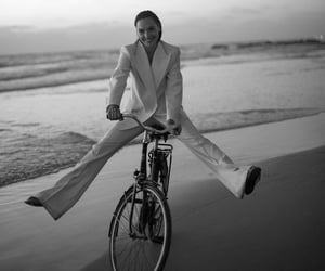 beach, beautiful, and bike image