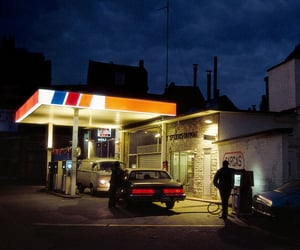 night, gas station, and light image