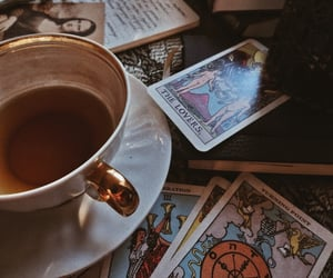 tea, dark academia, and tarot image