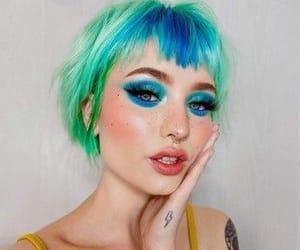 green hair, beauty, and e-girl image