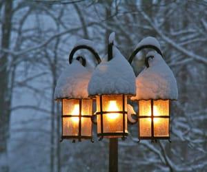 lantern, snow, and snowing image