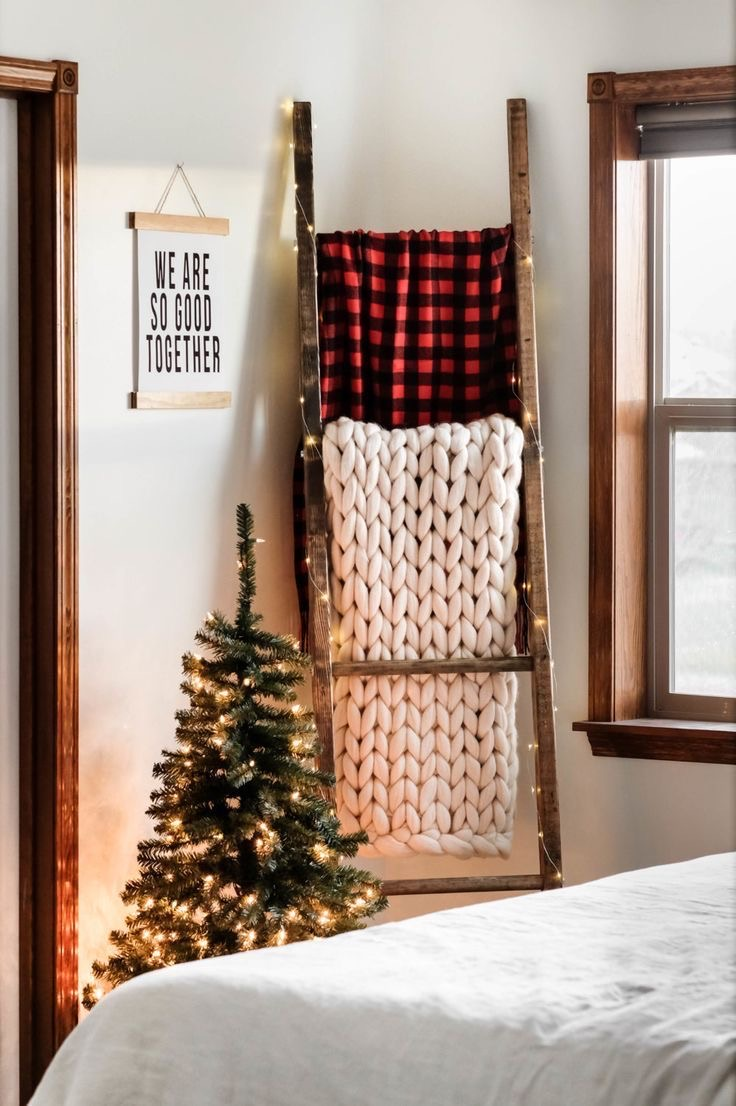 bedroom, blanket, and holiday image