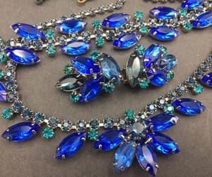 blue bracelet, vintage jewelry set, and etsy image
