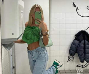 boyfriend jeans and high top pine green 1s image