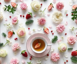 berry, cup of tea, and flowers image