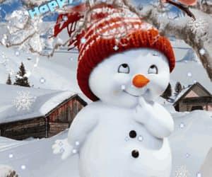 bird, snowman, and cute image