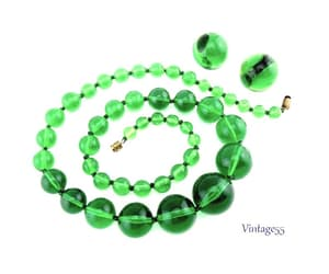 beaded necklace, vintage necklace set, and green beaded image