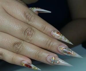 nails, acrylicnails, and nudenails image