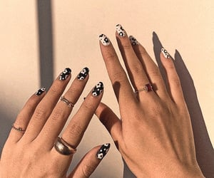 nails, beauty, and black & white image