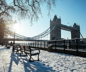 bridge, london, and snow image