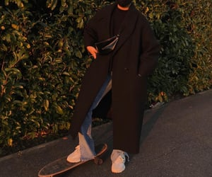 black coat, hijab, and jeans image